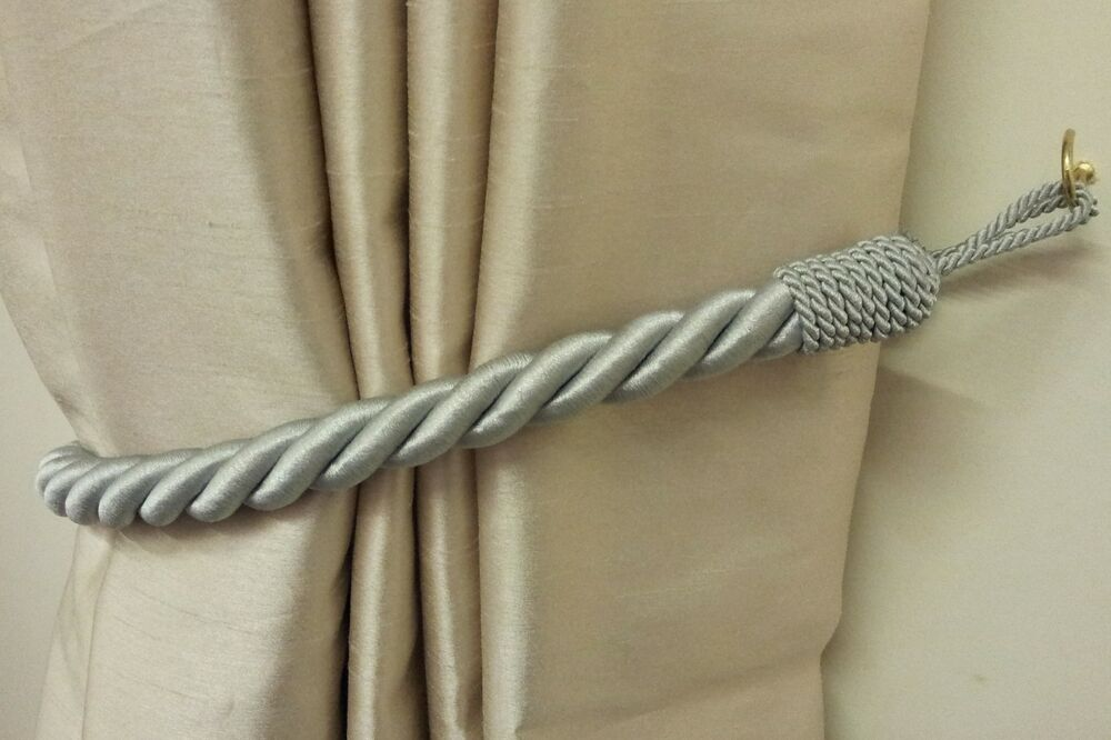 curtain tie backs 2 x stunning silver thick large rope satin curtain drape 11873