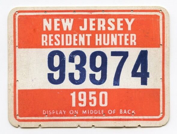 Vintage 1950 new jersey hunting license ebay for New jersey fishing license