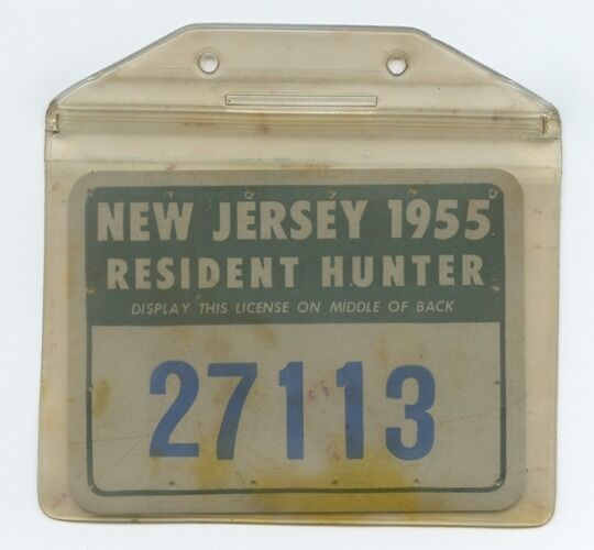 Vintage 1955 new jersey hunting license in case ebay for New jersey fishing license