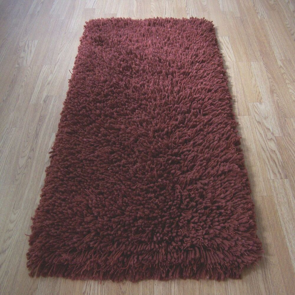Malmo shaggy rugs in terracotta 60x110cm cheap rug ebay for Cheap carpets and rugs