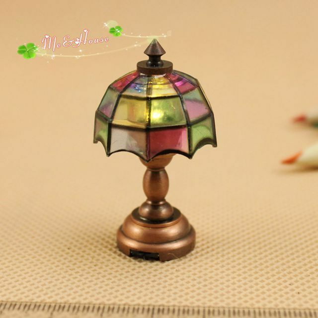 1:12 Dollhouse Miniature Scale Tiffany Desk Light Lamp Led