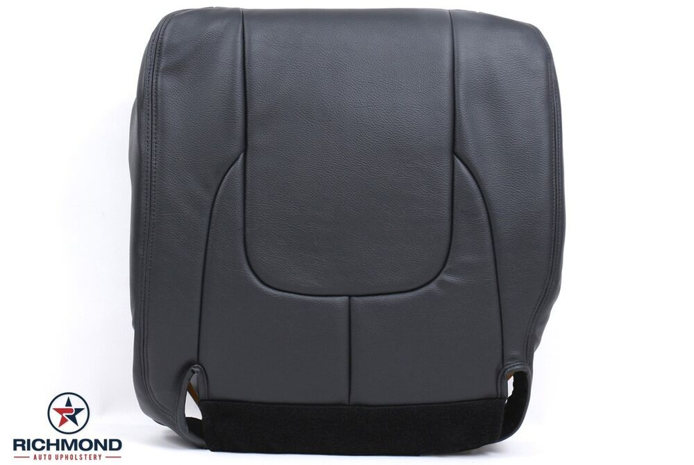 02 03 dodge ram 1500 laramie driver bottom replacement leather seat cover gray ebay. Black Bedroom Furniture Sets. Home Design Ideas