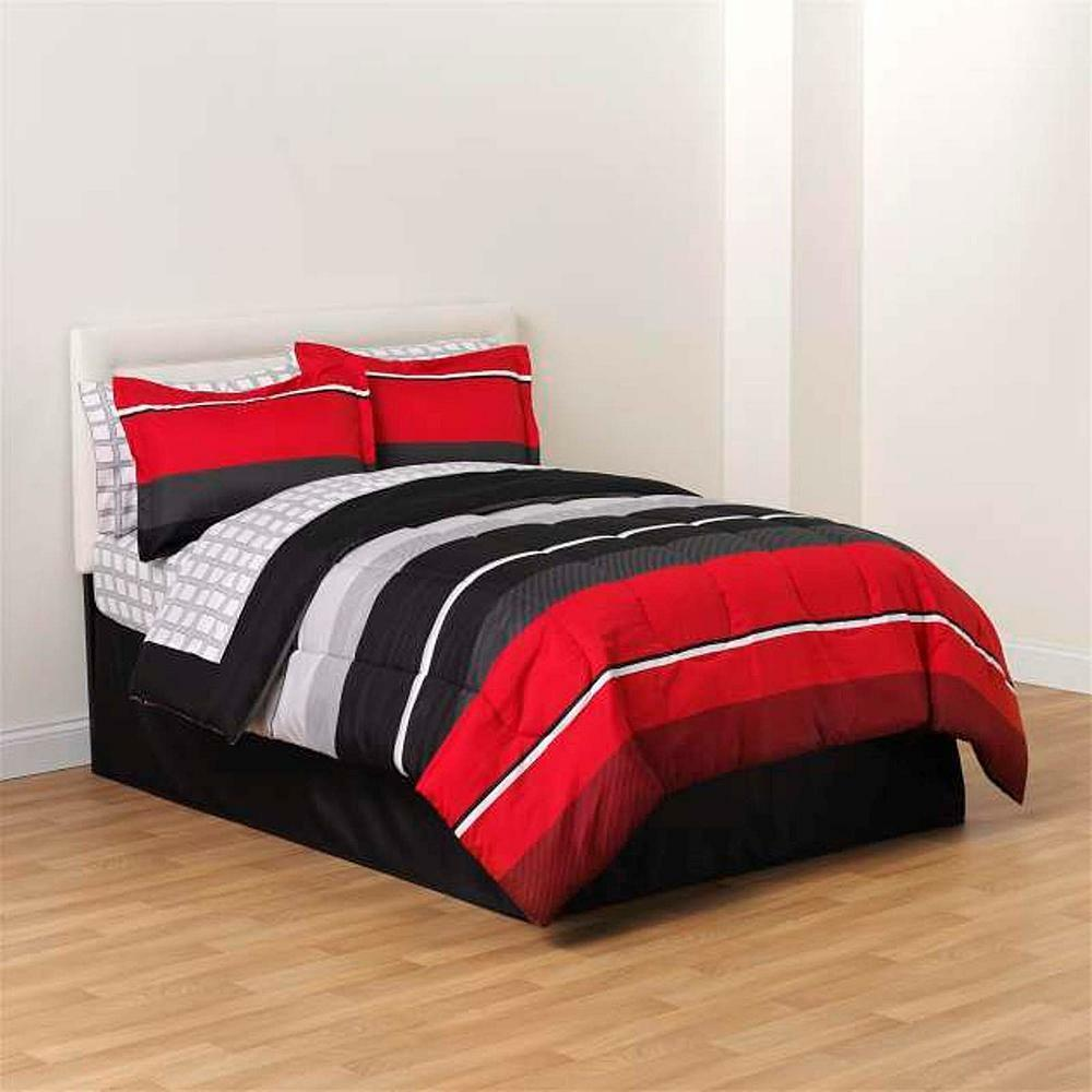 8 Pc Complete Bedding Comforter Set Red Black White