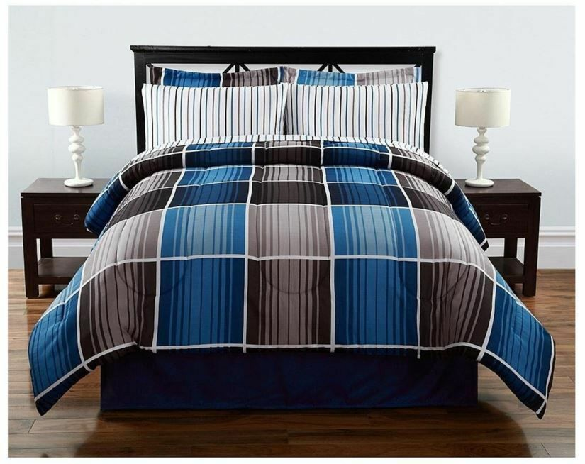 bed sets full 8 pieces complete bed set comforter striped plaid blue 29512