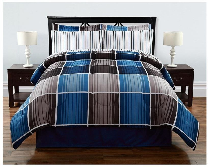 8 Pieces Complete Bed Set Comforter Striped Plaid Blue
