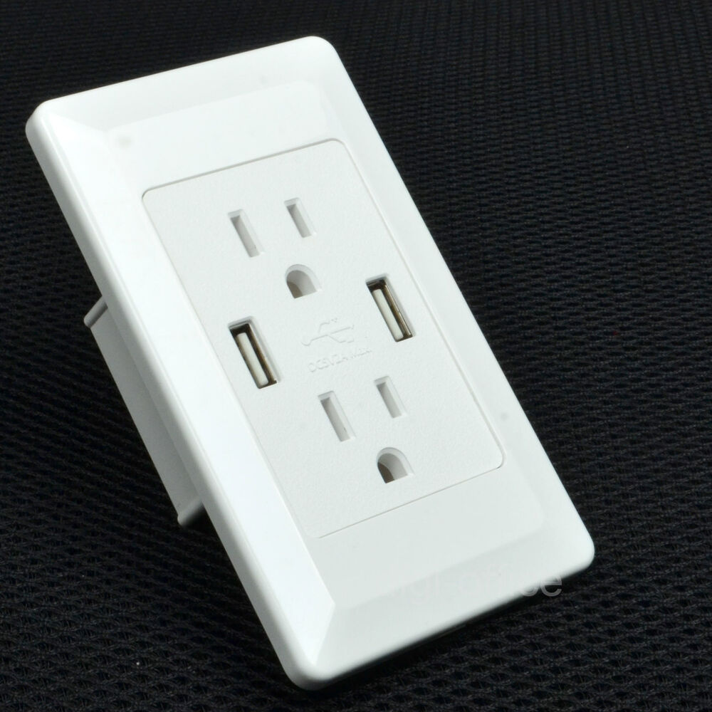 Fuse Box Usb Wall Charger : Electrical outlet panel dual usb wall charger port socket