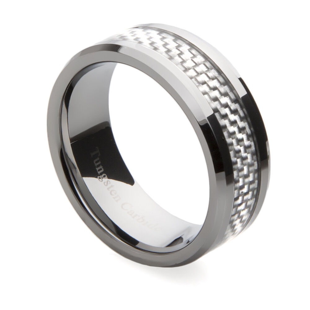 Mens tungsten carbide wedding band with silver carbon for Carbon fibre wedding ring