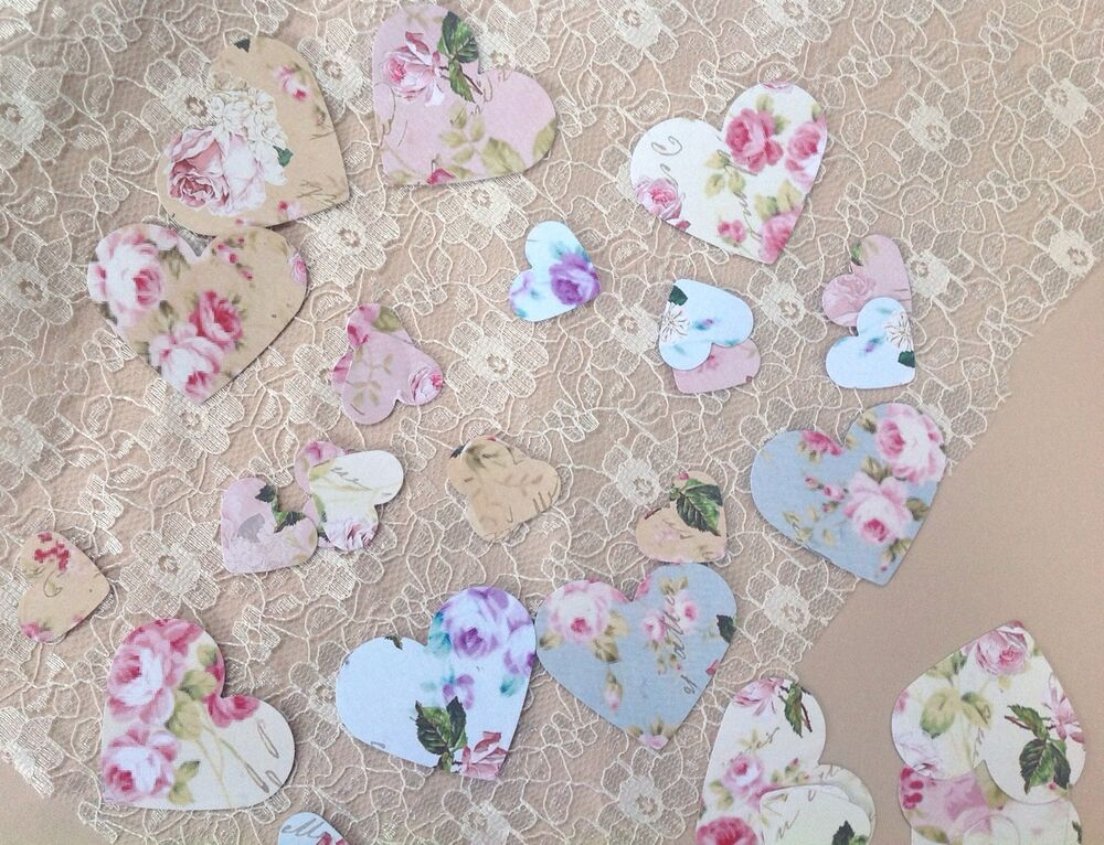 vintage shabby chic floral scrapbook table confetti ebay. Black Bedroom Furniture Sets. Home Design Ideas