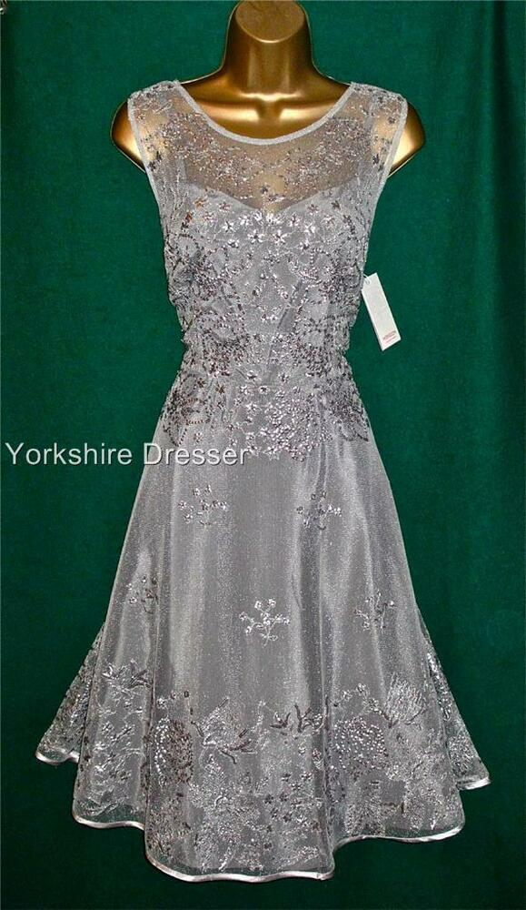 New monsoon silver grey embellished verdi fit 39 n 39 flare prom for Silver wedding dresses for sale