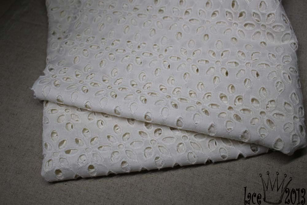 Y embroidery flower eyelet cotton lace fabric ivory cream