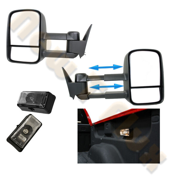 chevy gmc truck suburban c k 1500 2500 3500 tow mirror l r 2 truck bed lights ebay. Black Bedroom Furniture Sets. Home Design Ideas