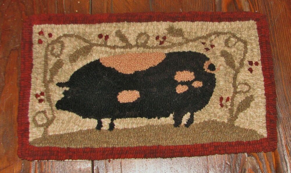 Primitive Hooked Rug Pattern On Linen Quot Farm Friends Series Pig Quot Ebay