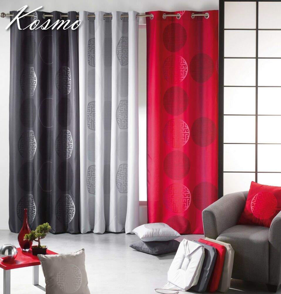 Evideco sheer curtain panel kosmo gray red beige with for Salon rouge et beige