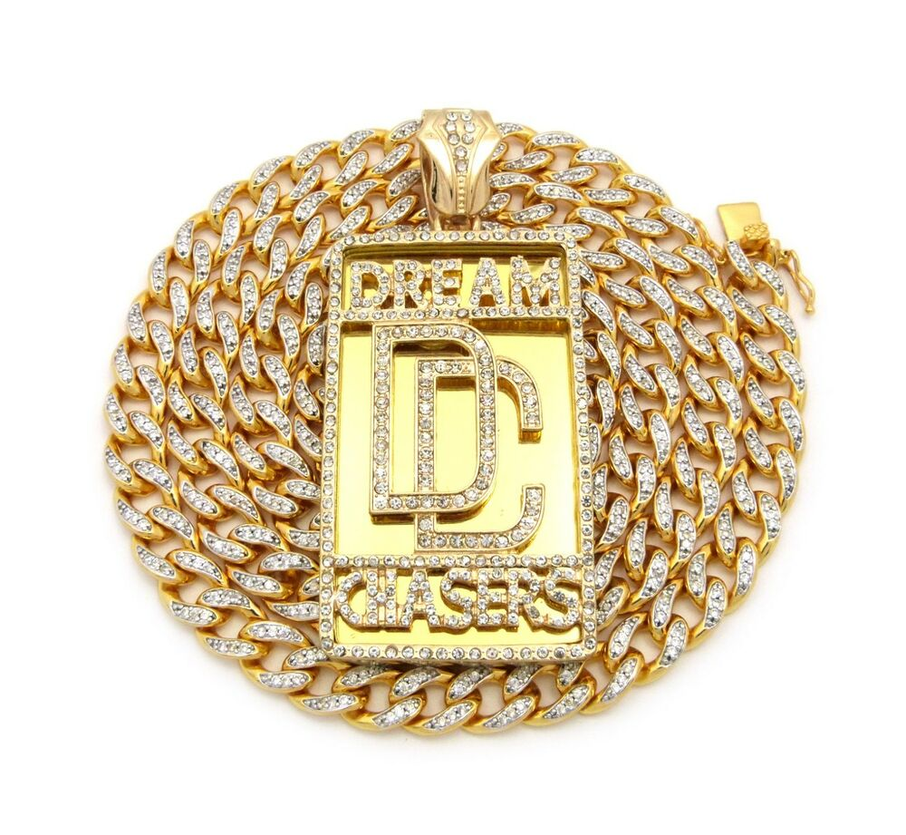 Hip Hop Dream Chasers Pendant36 Quot Cubic Zirconia Brass