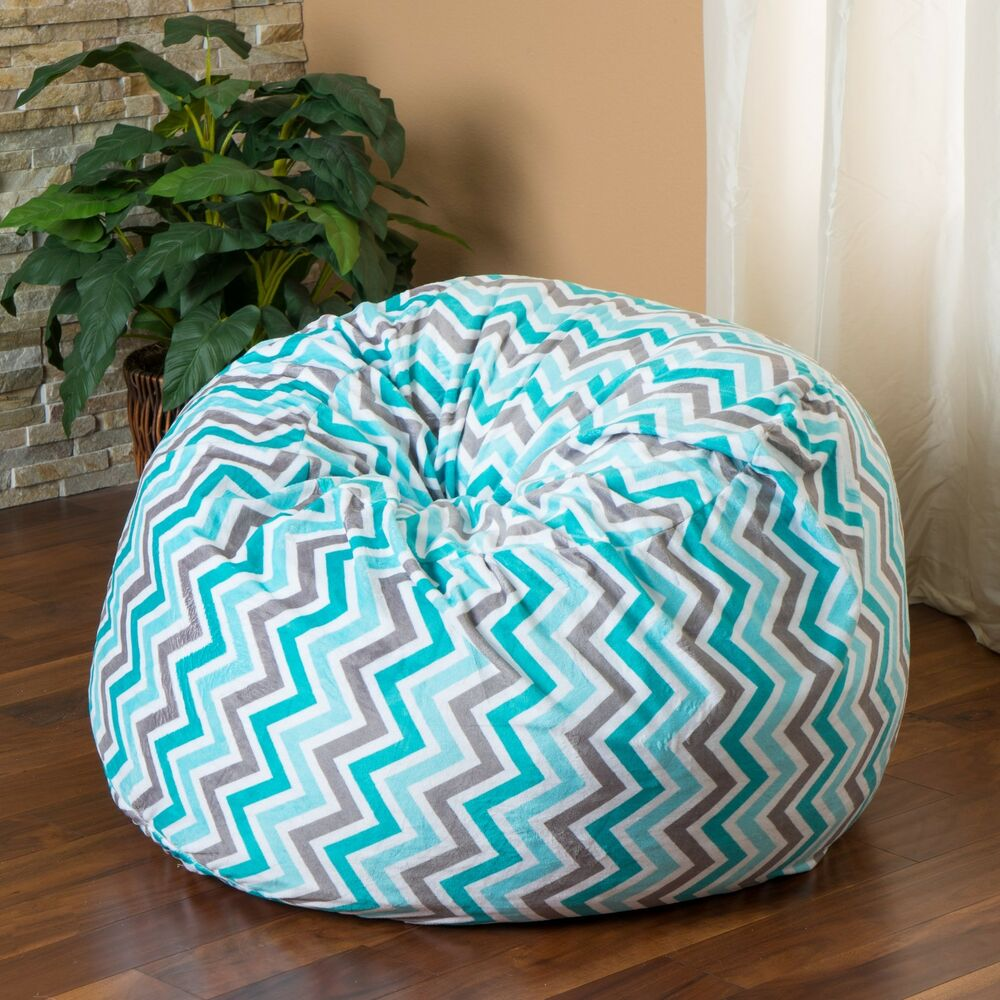 Home Decor 3 Foot Teal Chevron Stripe Design Fabric Bean