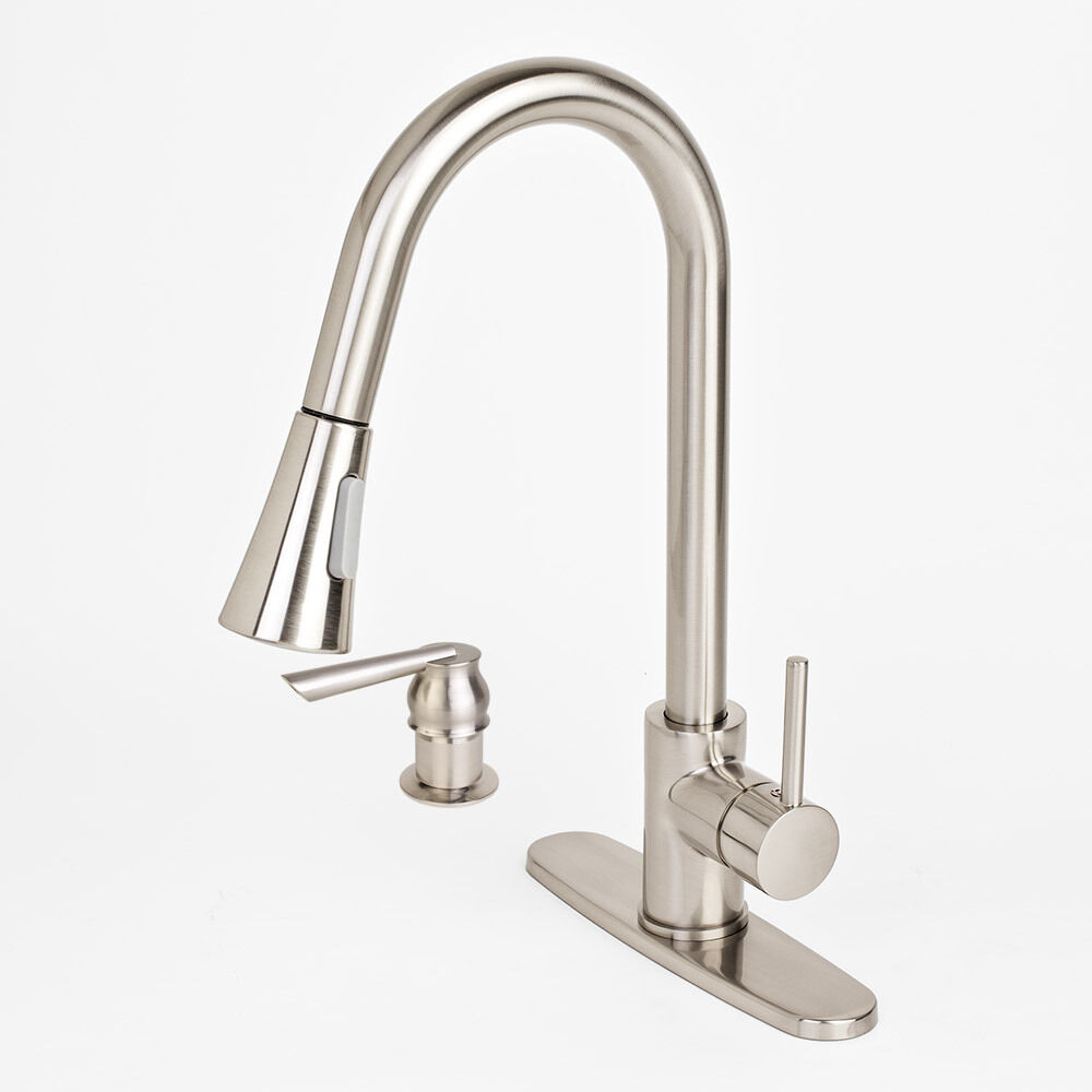 new 16 kitchen faucet combo w soap dispenser deck plate cover pull down spray ebay. Black Bedroom Furniture Sets. Home Design Ideas