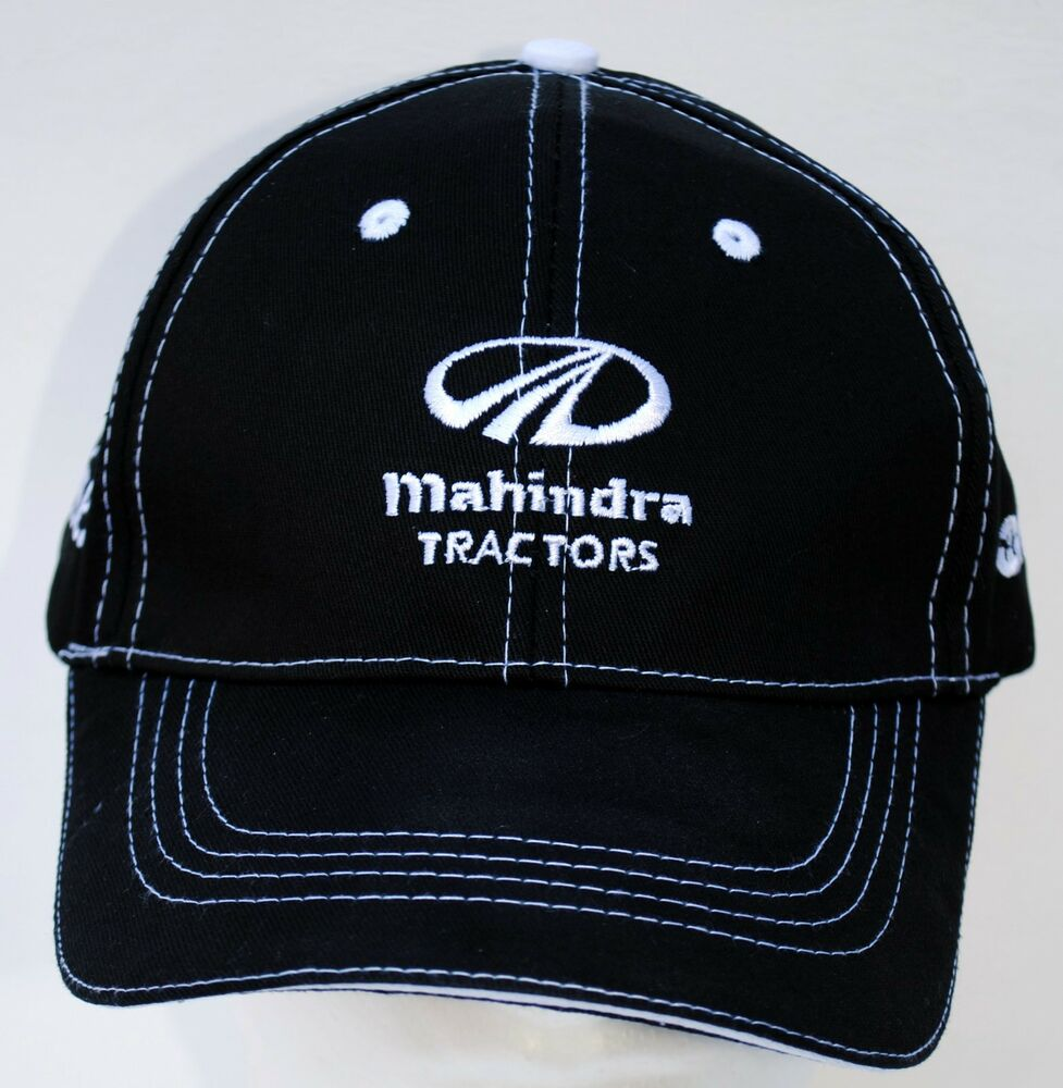 Tractor Shirts And Hats : Mahindra new oem ball cap hat black white stitched