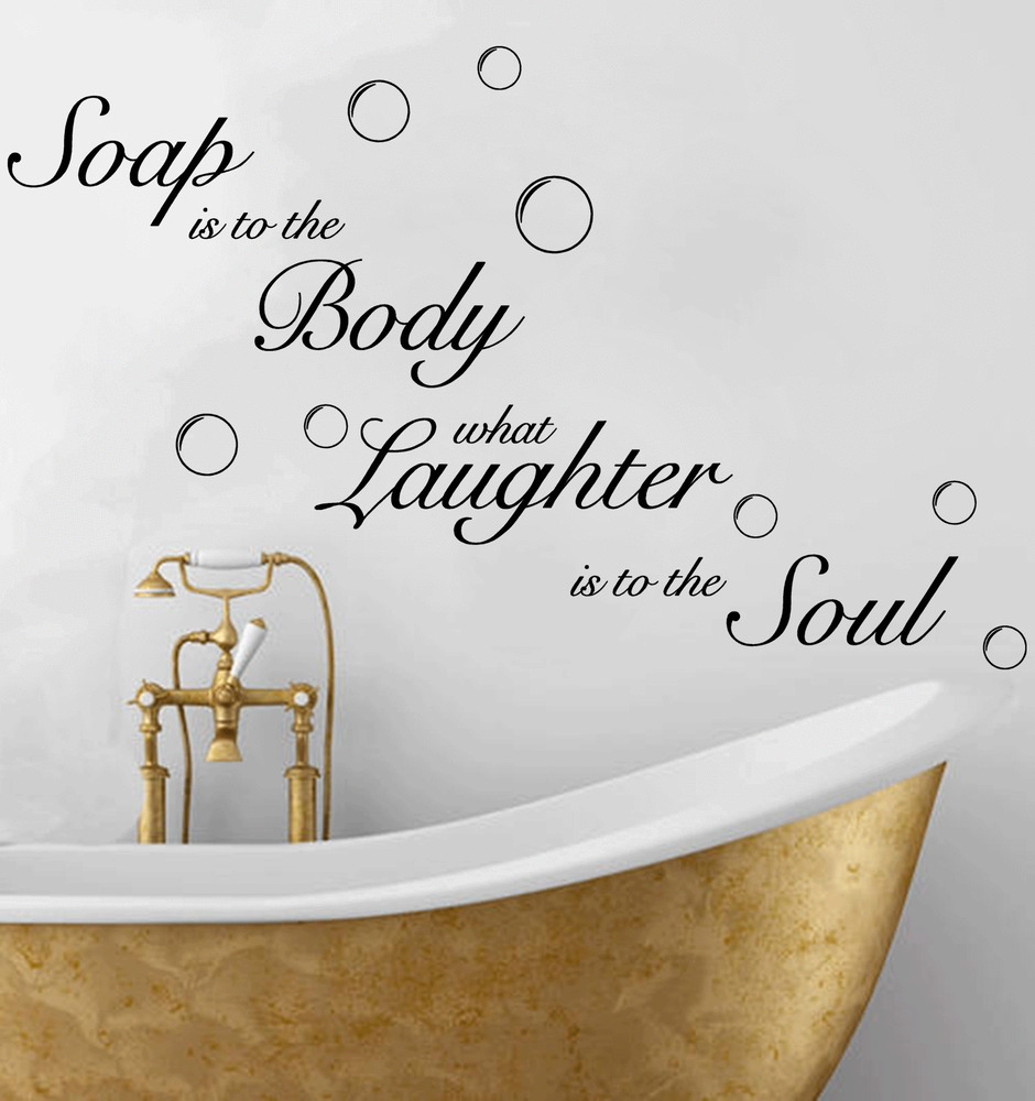 Soap soak bubbles bathroom quote toilet wall sticker decal for Bathroom wall decor quotes