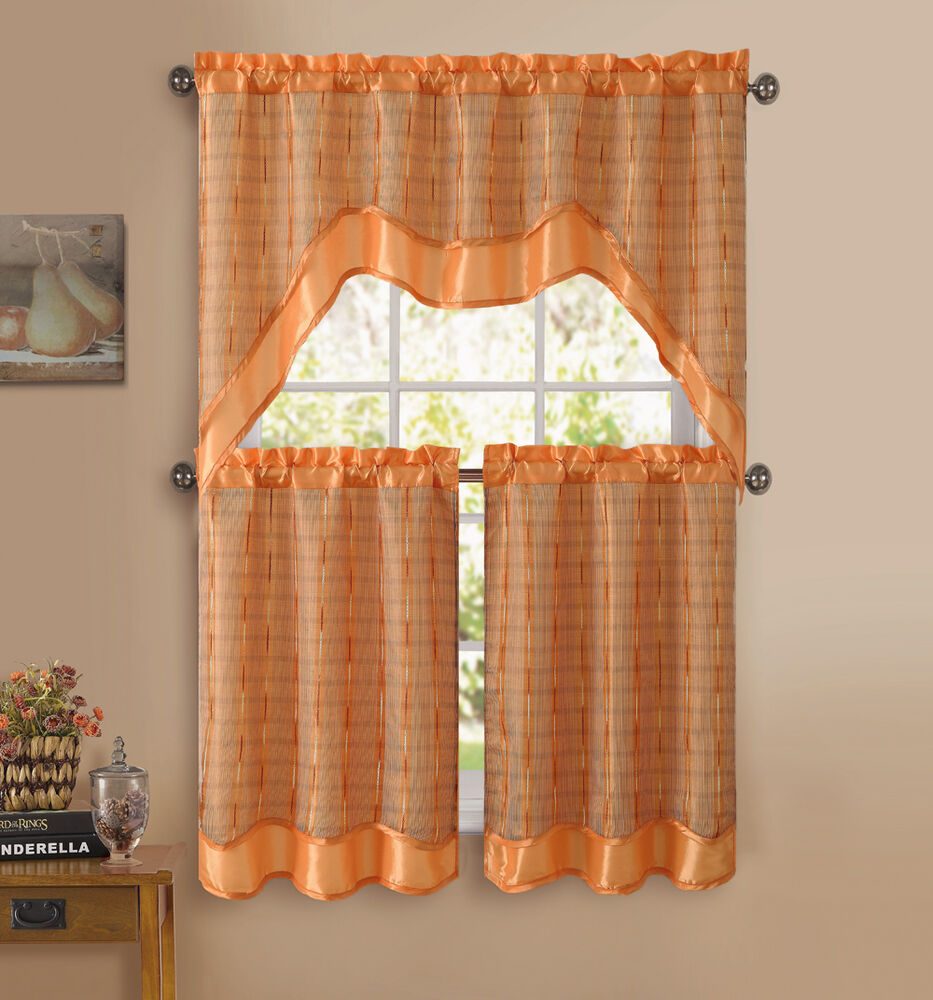 Orange 3 pc kitchen window curtain set double layer 2 for Valance curtains for kitchen