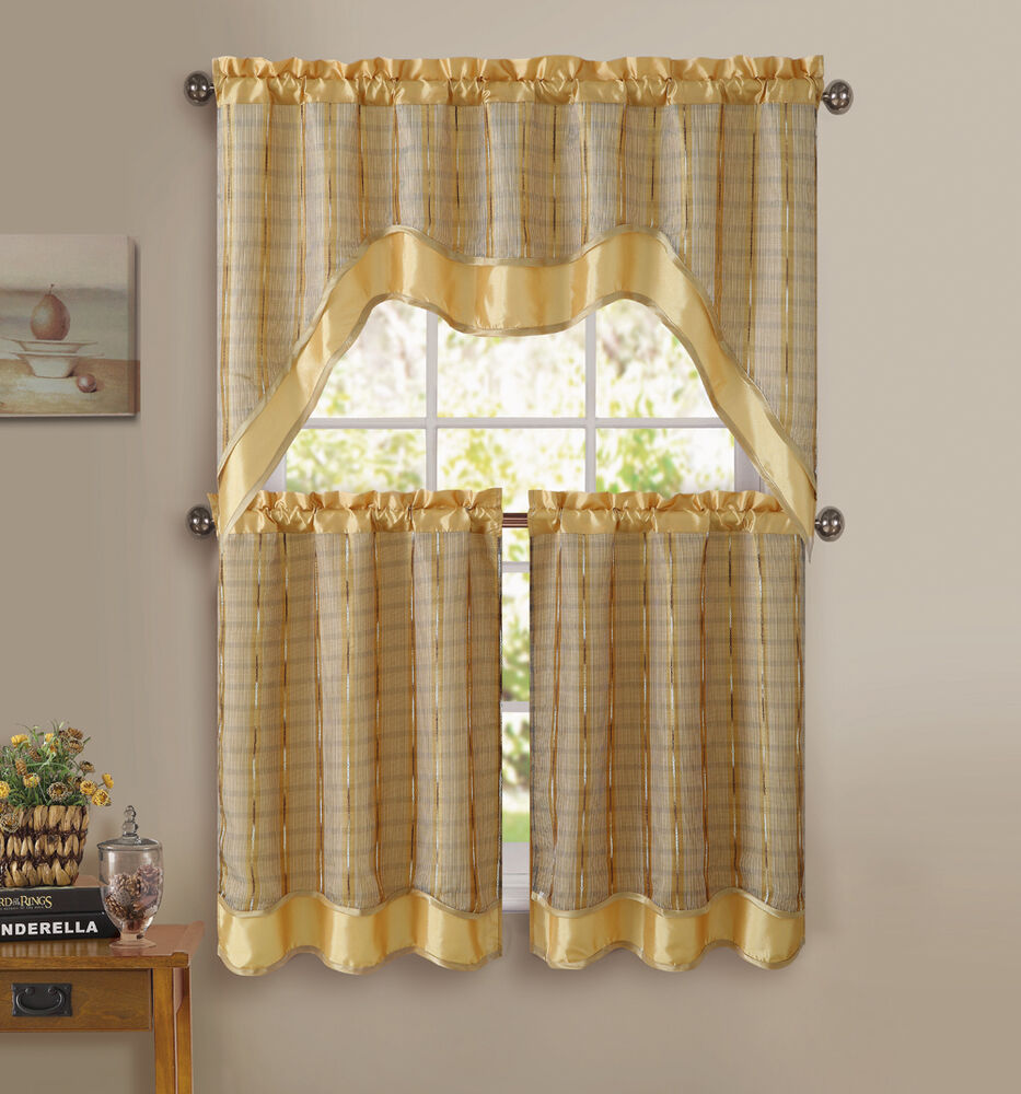 Gold 3 pc kitchen window curtain set double layer 2 for Valance curtains for kitchen
