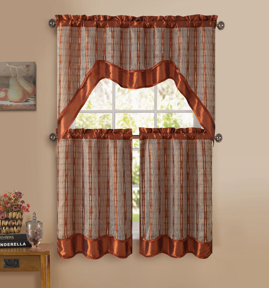 Kitchen Window Curtains: Cinnamon 3-Pc Kitchen Window Curtain Set: Double-Layer, 2