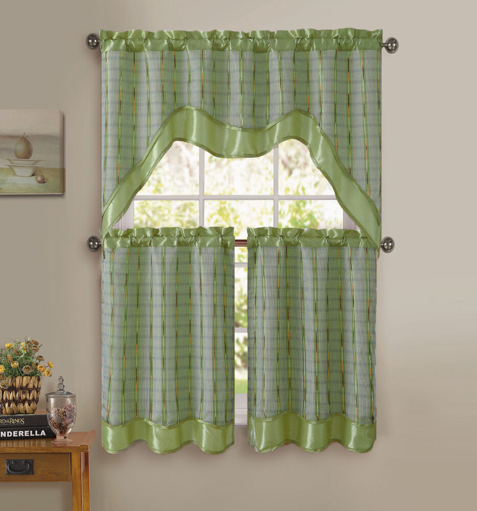 Kitchen Curtains And Valances: Sage Green 3-Pc Kitchen Window Curtain Set: Double-Layer