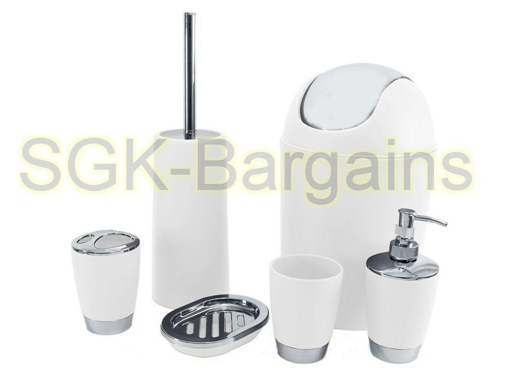 6pc bathroom accessory set tumbler toilet brush lotion for White bathroom tumbler