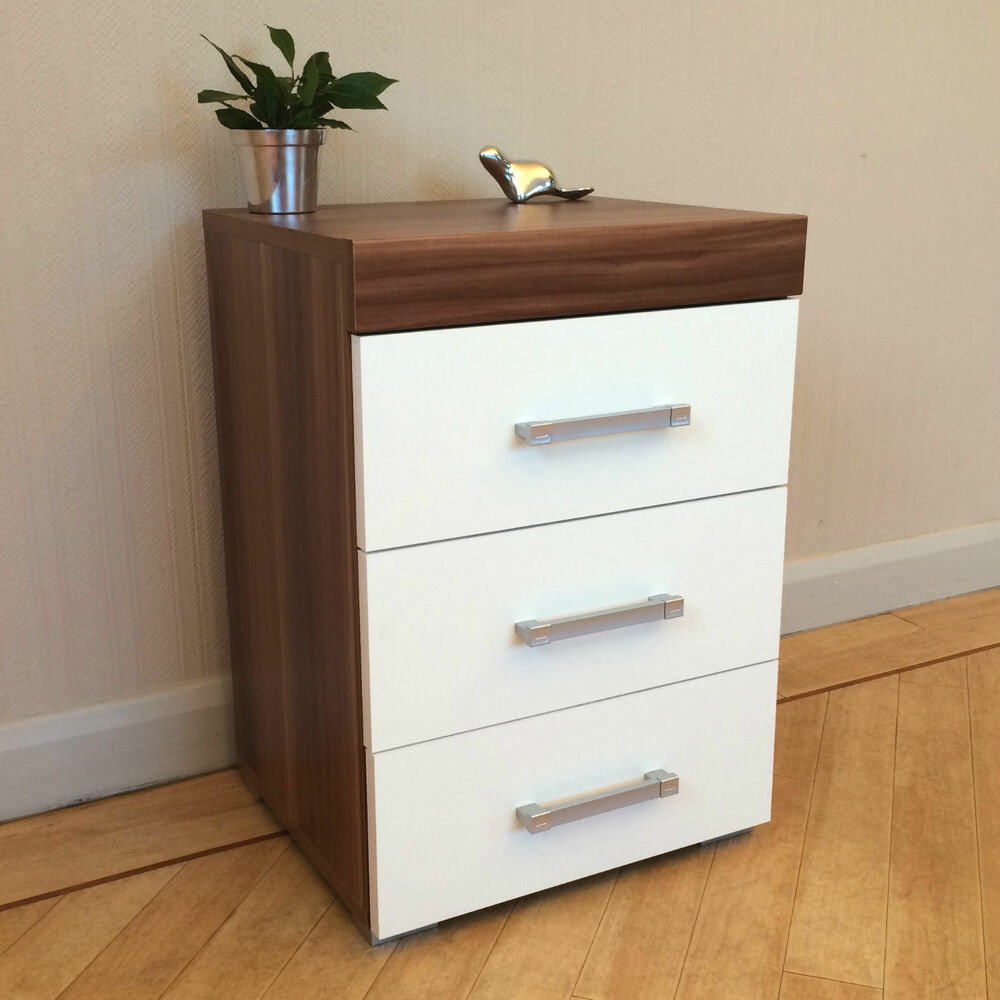 3 drawer white walnut bedside cabinet table 3 draw for White bedroom cabinet
