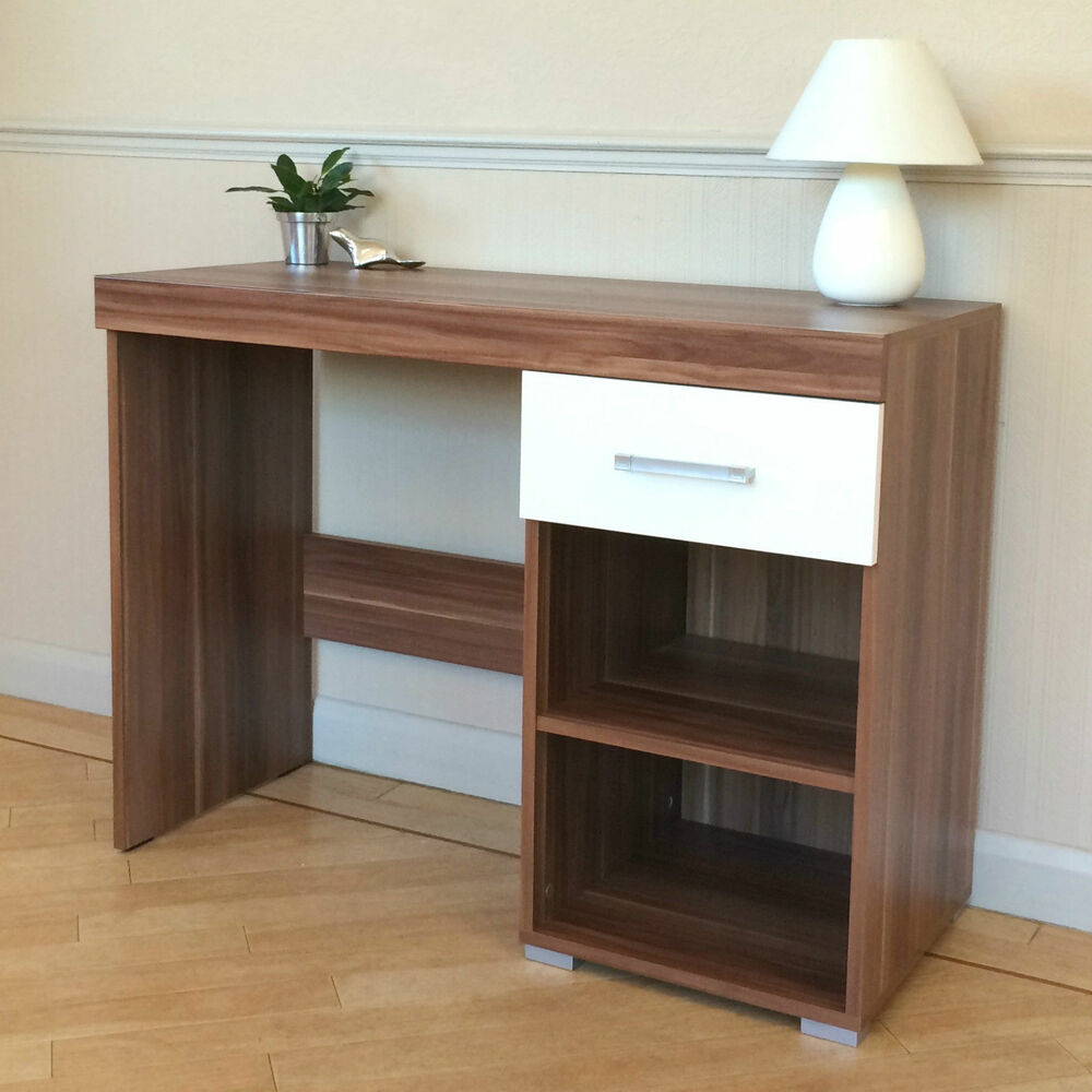White Amp Walnut Dressing Table 1 Drawer Amp Shelf Vanity