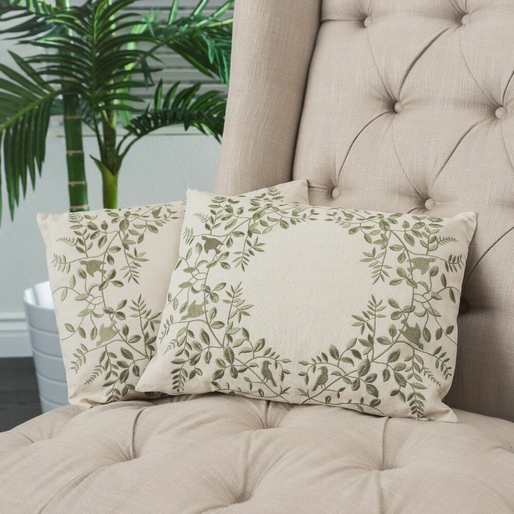 Set of 2 green floral embroidered over beige fabric accent - Fabric for throw pillows ...