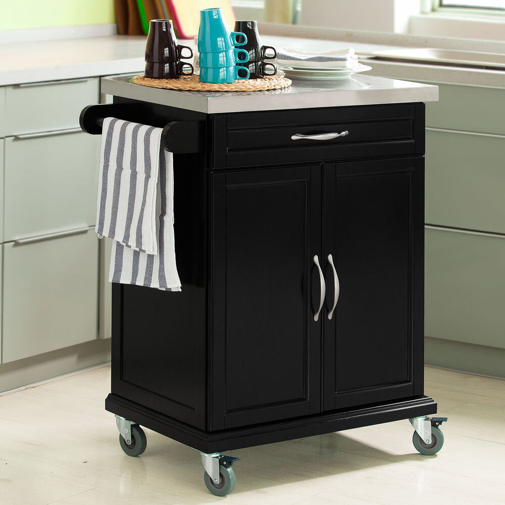 SoBuy Wood Kitchen Cabinet Kitchen Cart Trolley with