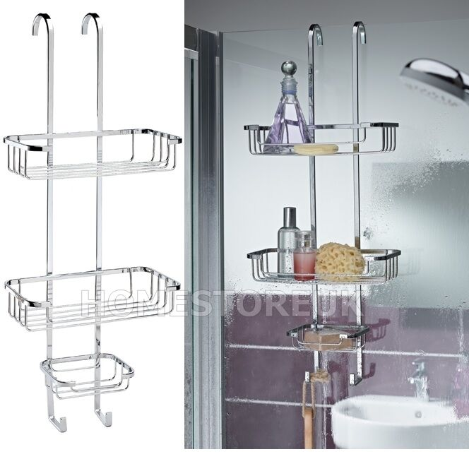 Croydex Over Door Rack Hook 3 Tier Shower Basket Caddy Stainless Steel Stand 599 Ebay
