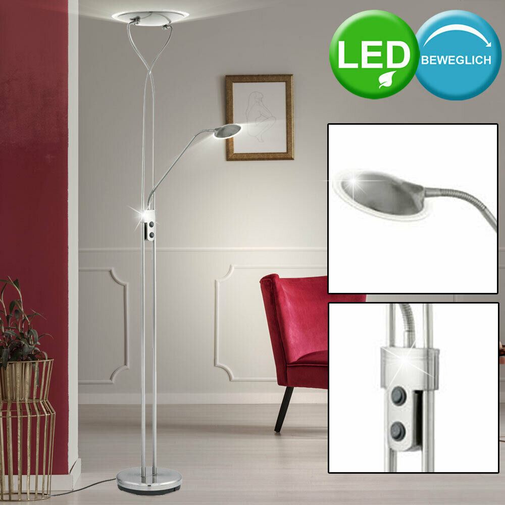 led stand lese lampe 24 watt decken fluter spot strahler wohnzimmer steh leuchte ebay. Black Bedroom Furniture Sets. Home Design Ideas