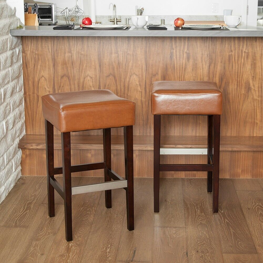 Set Of 2 Stylish Hazelnut Leather Backless Bar Stools W