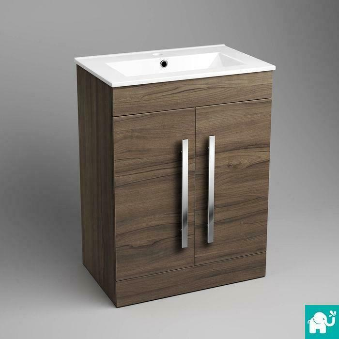 Modern bathroom walnut door storage cabinet basin sink Bathroom sink cabinets modern