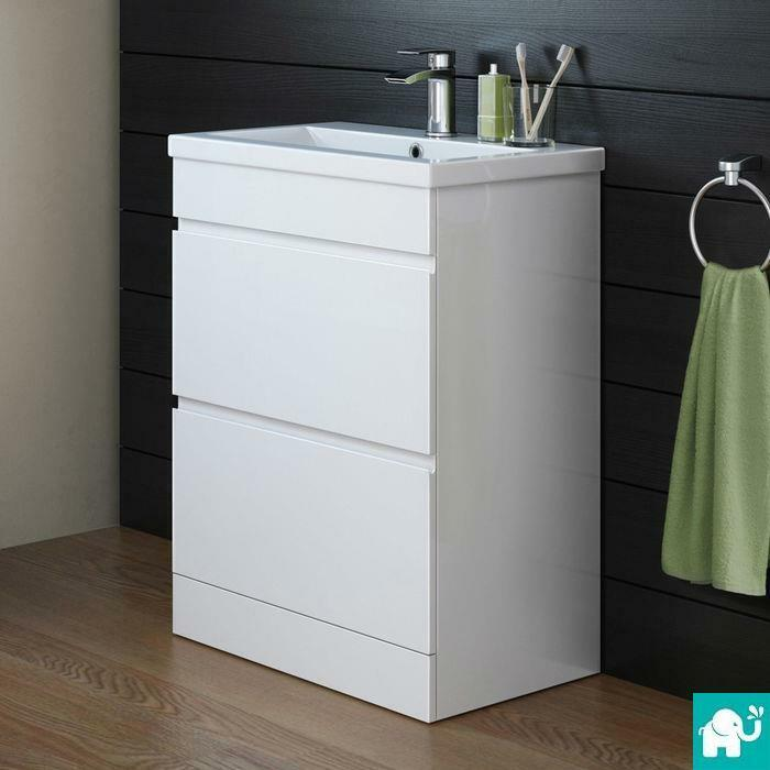 Designer bathroom gloss white storage cabinet ceramic for Floor standing bathroom furniture