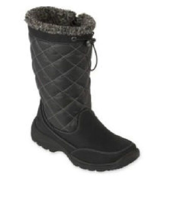 Totes Winter Boots Quilted Cold Weather black synthetic
