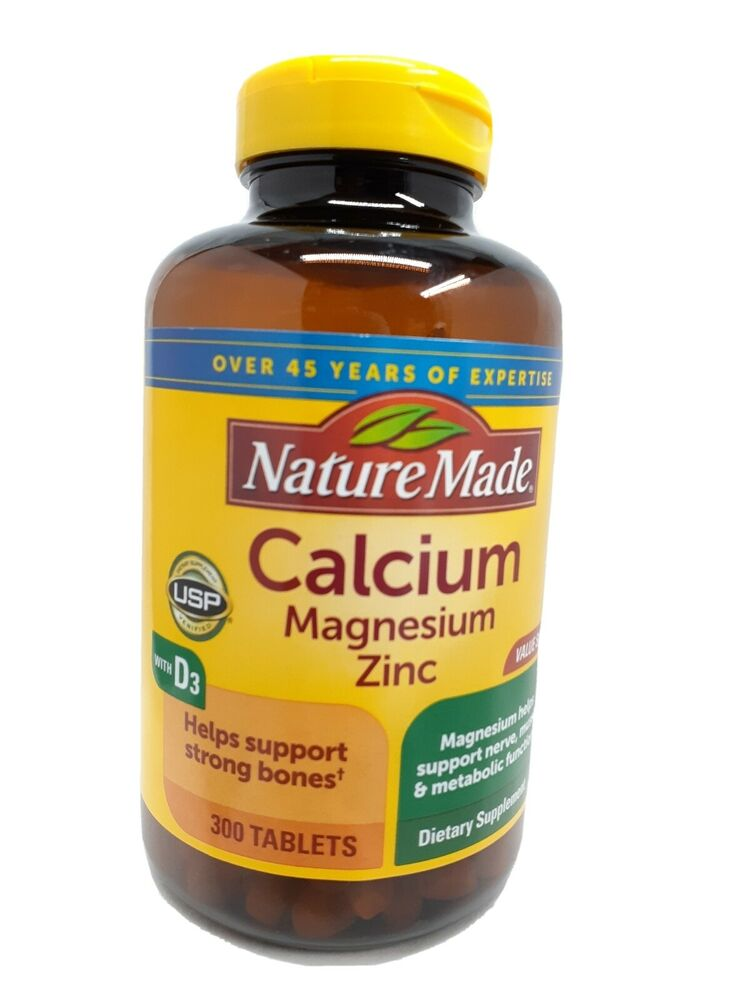 nature made calcium magnesium zinc vitamin d3 dietary supplement 300 tablets new ebay. Black Bedroom Furniture Sets. Home Design Ideas