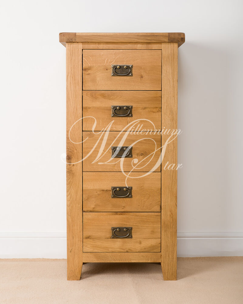 Oak Wood Chest Of Drawers ~ Solid chunky wood rustic oak tallboy wellington chest of