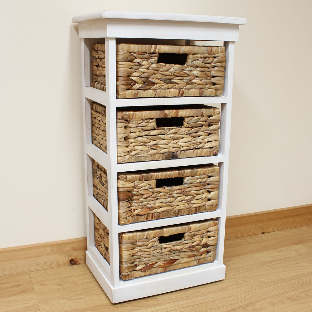 Hartleys large white 4 basket chest home storage unit - Bathroom storage baskets shelves ...