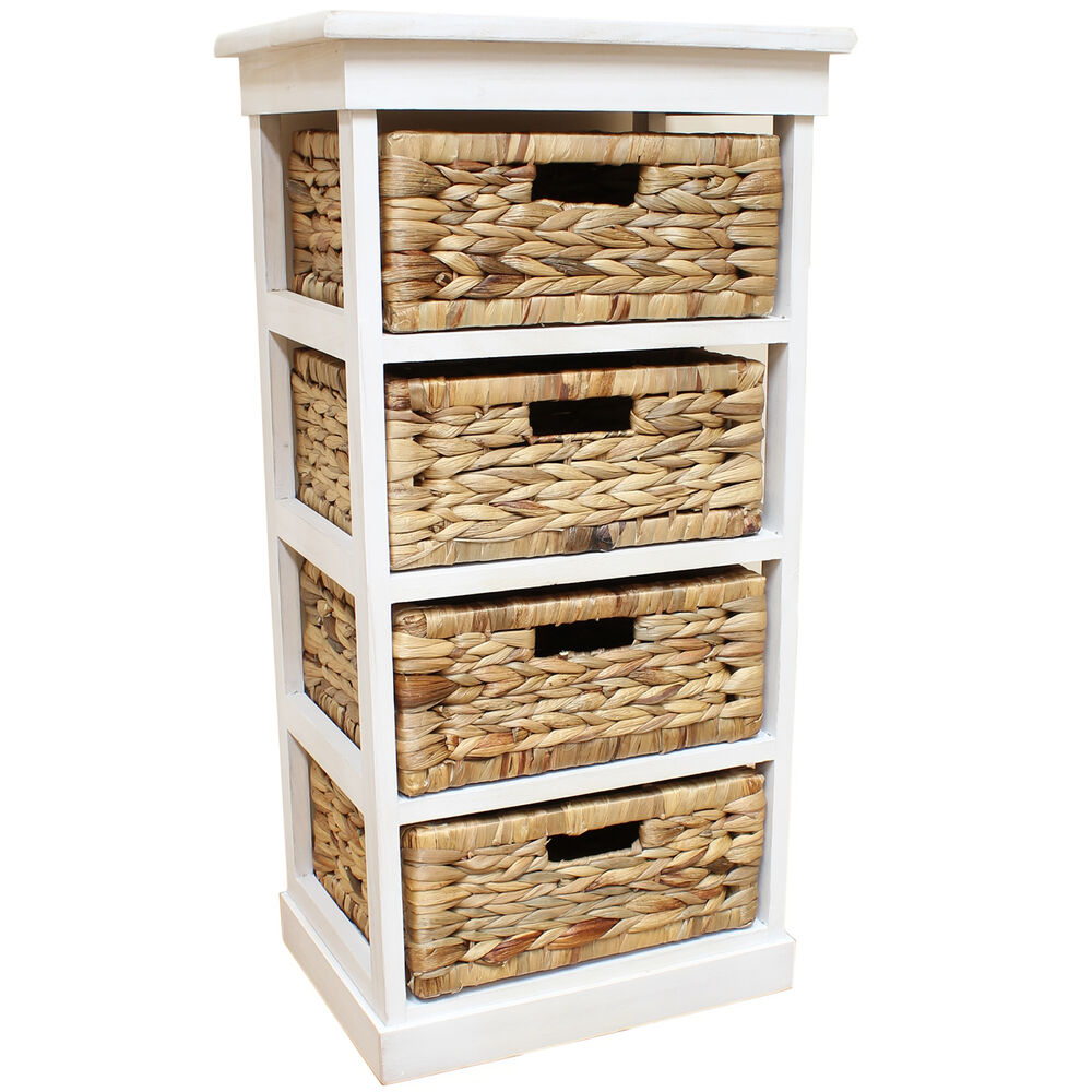 White Seagrass Basket Drawer Chest Storage Cabinet Unit Home Lounge Bathroom Ebay