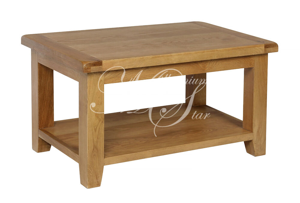 Solid Chunky Wood Rustic Oak Small Coffee Table With Shelf Ebay