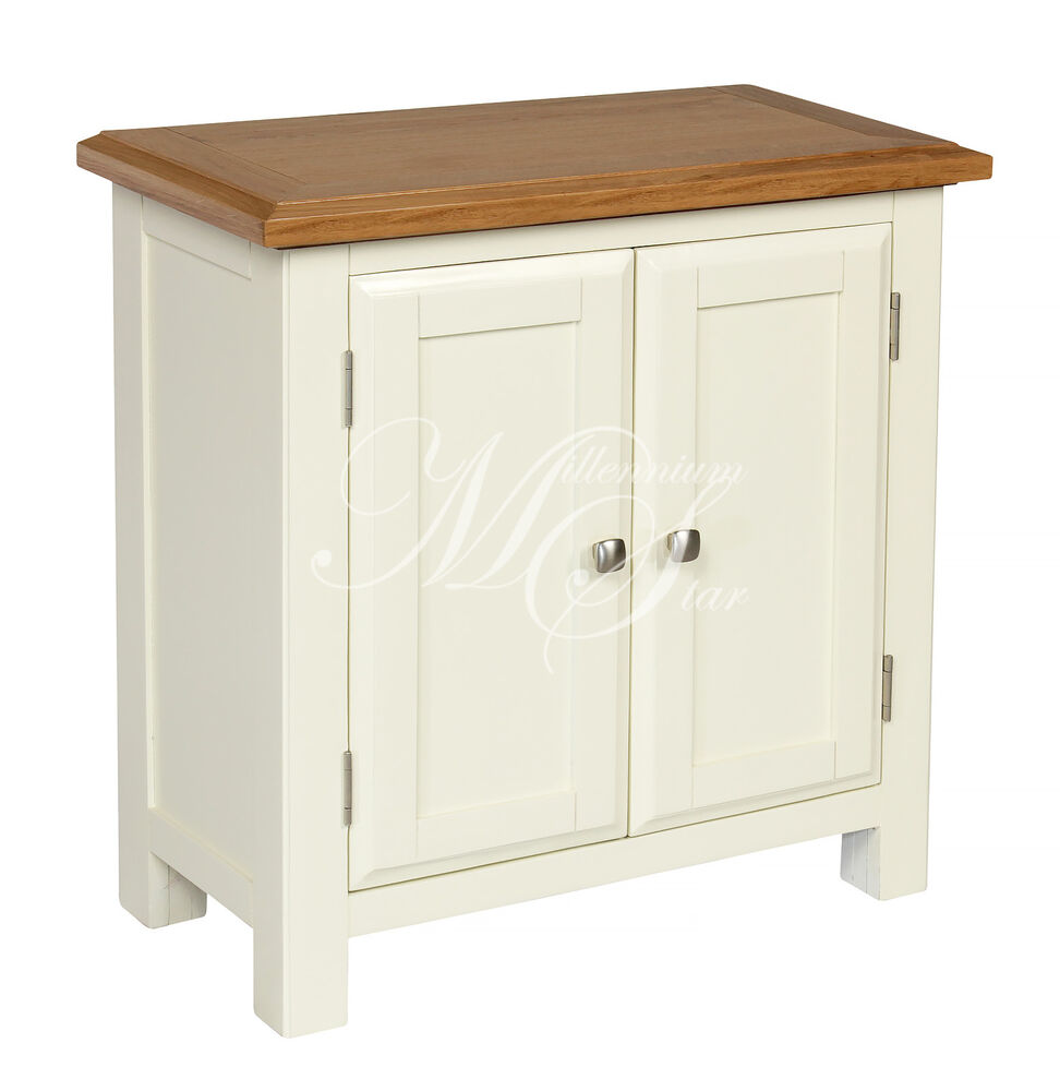 Ivory painted oak small two door cupboard cabinet storage for Cupboard cabinet