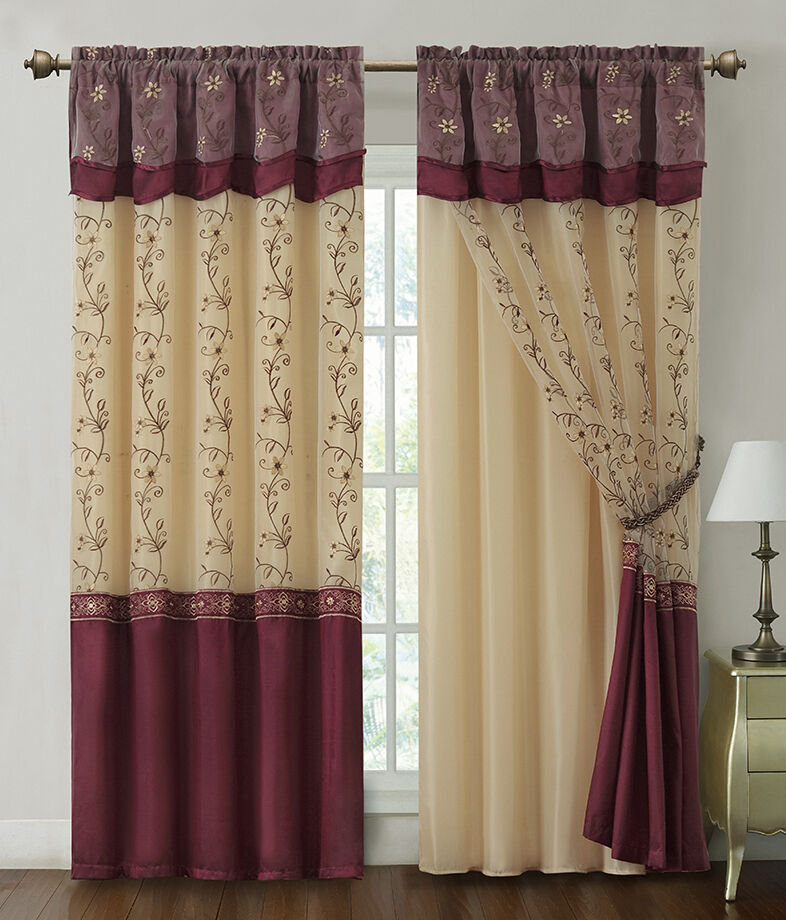 Burgundy Window Curtain Drapery Panel W/ Attached Backing