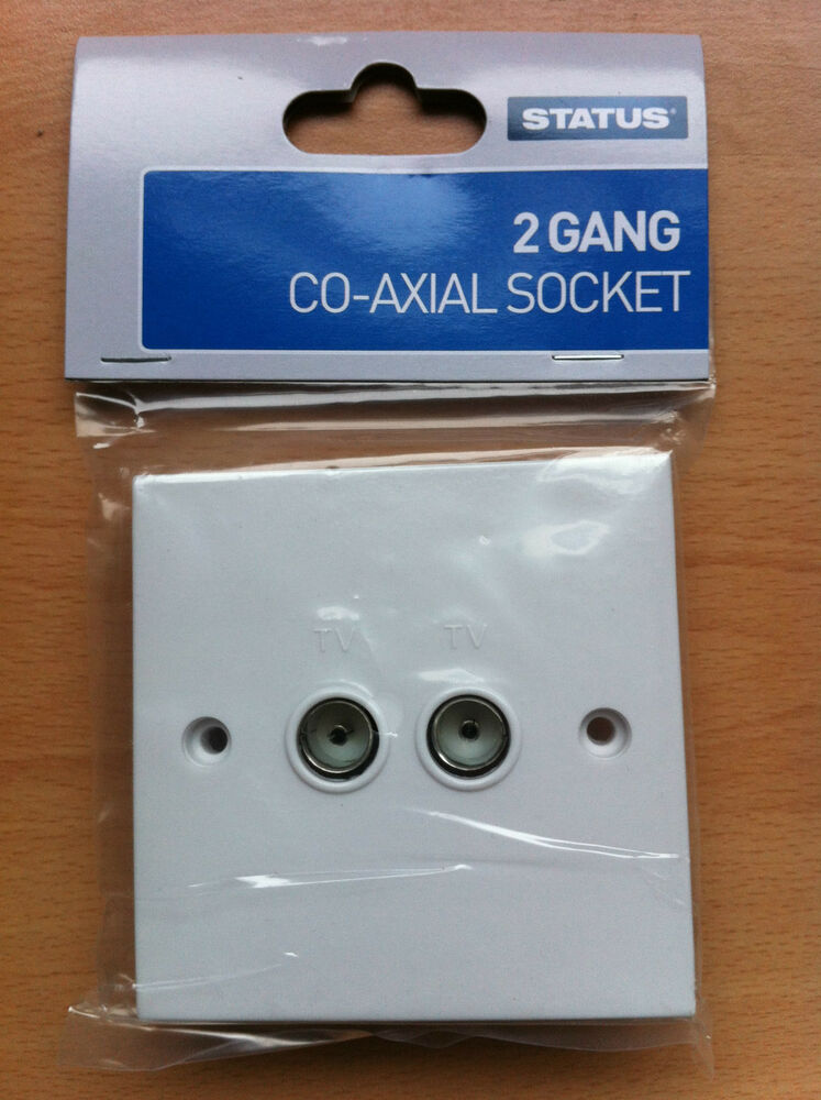 2 gang twin double tv aerial coaxial socket standard white. Black Bedroom Furniture Sets. Home Design Ideas