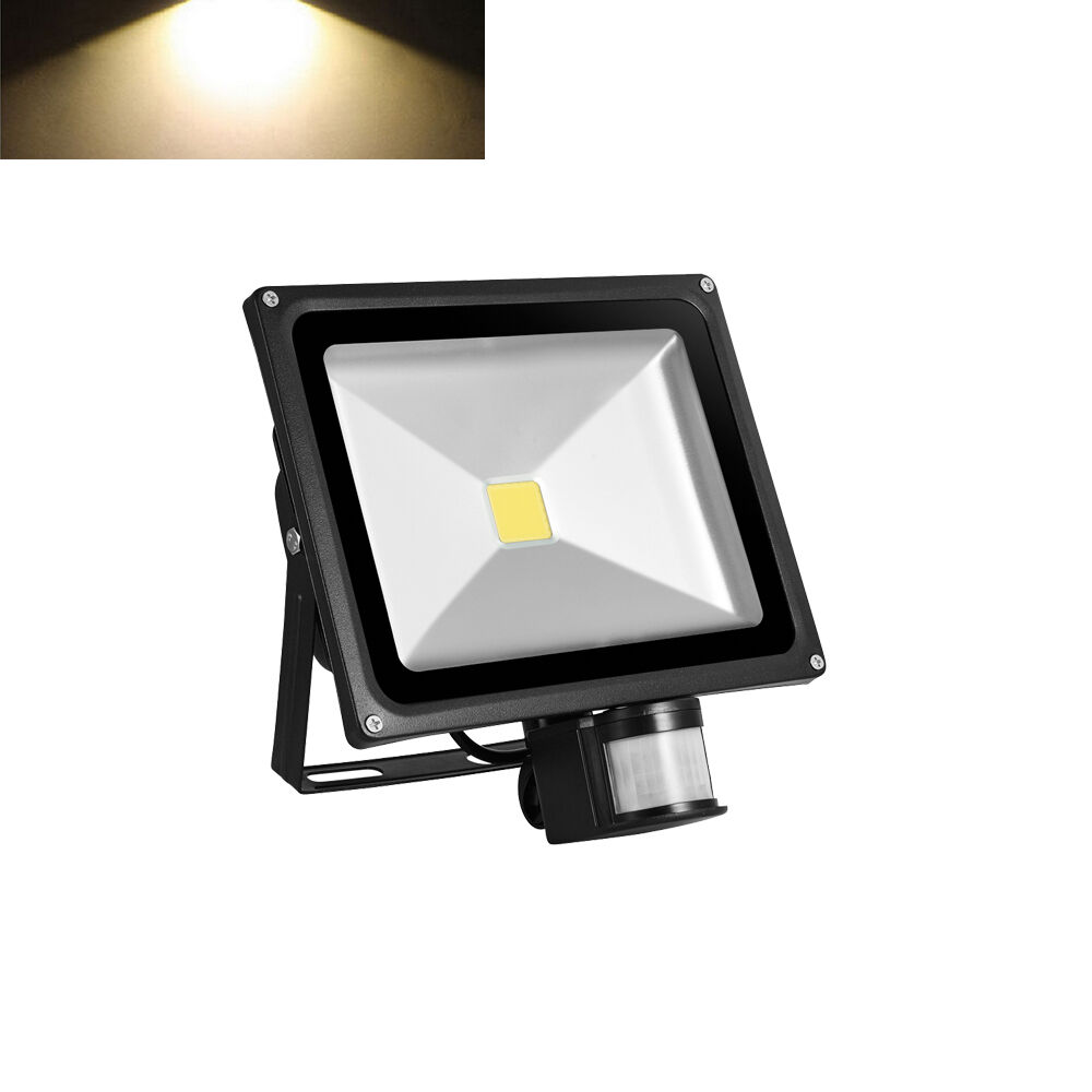 sensor led flood light lamp warm white outdoor security lights ebay