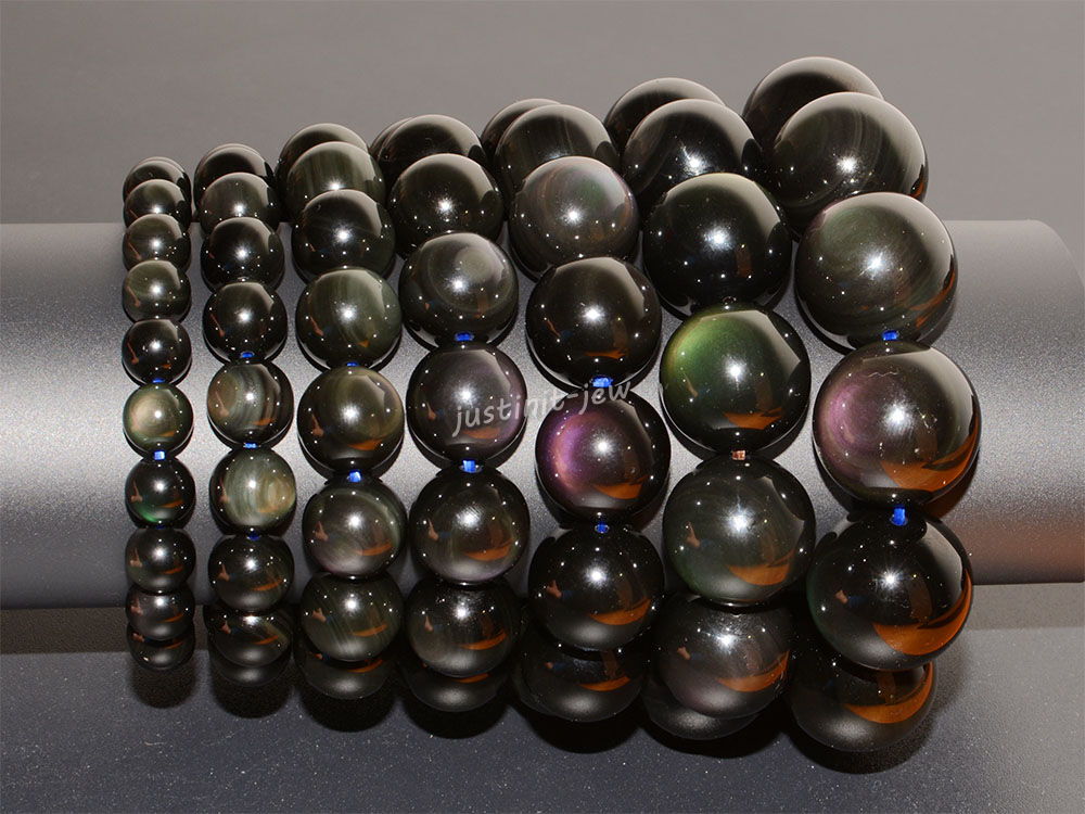 Natural Aaa Rainbow Eye Obsidian Round Beads Stretchable