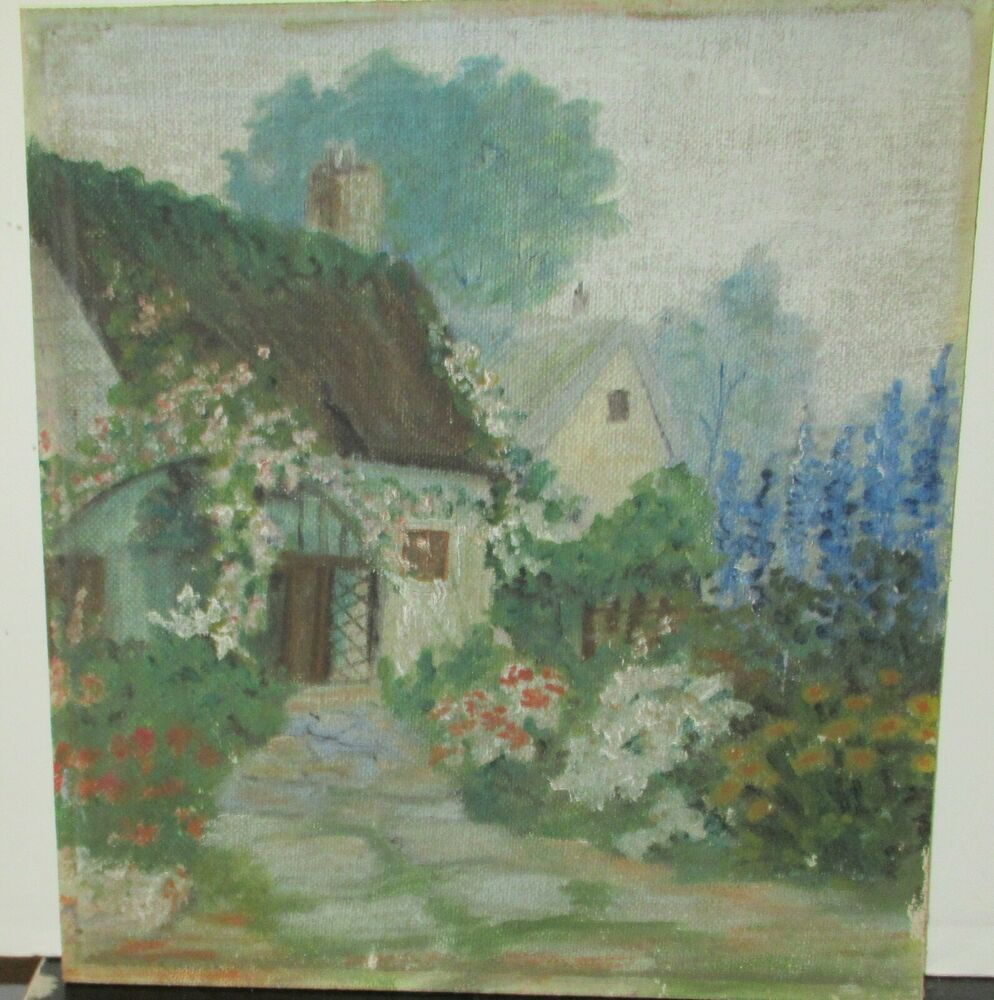 Old late 19th century oil on canvas board garden painting for What is canvas board