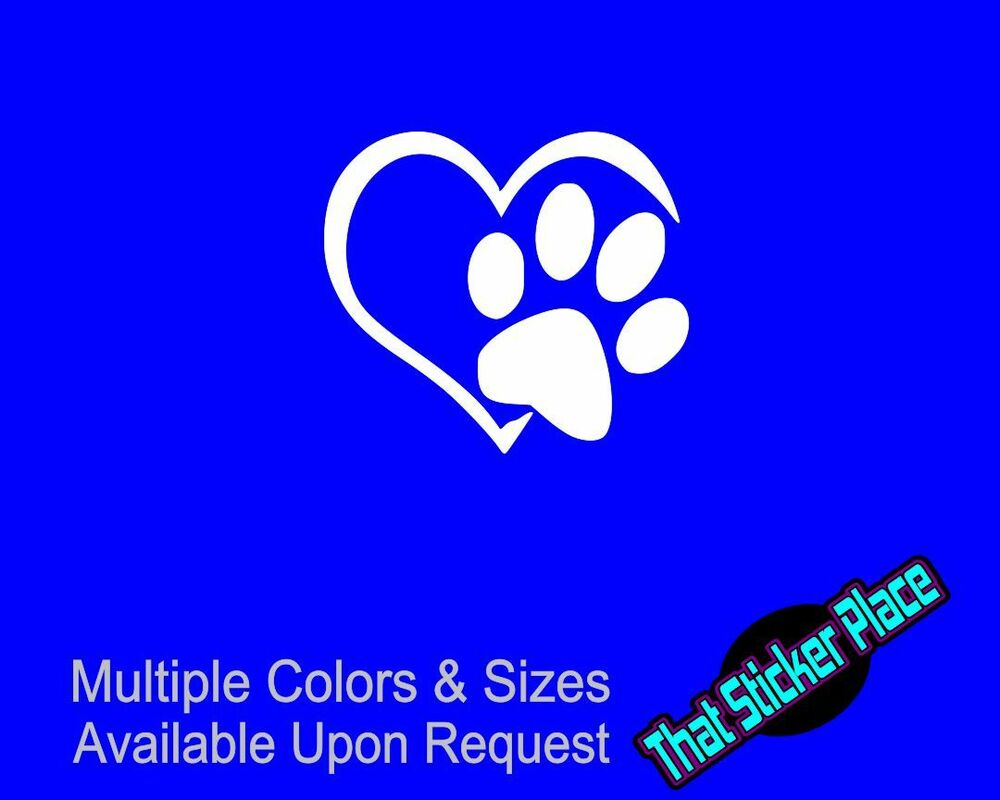 Love Dog Paw Heart Animal Car Window Vinyl Decal Sticker