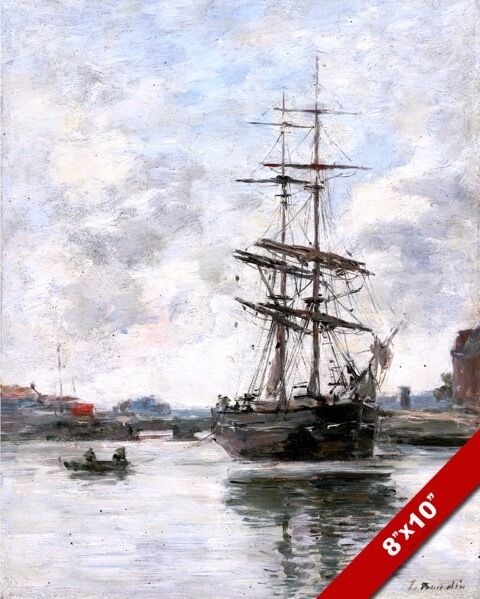 Touques France  City new picture : SAILBOAT SHIP ON TOUQUES RIVER NORTHERN FRANCE PAINTING ART REAL ...